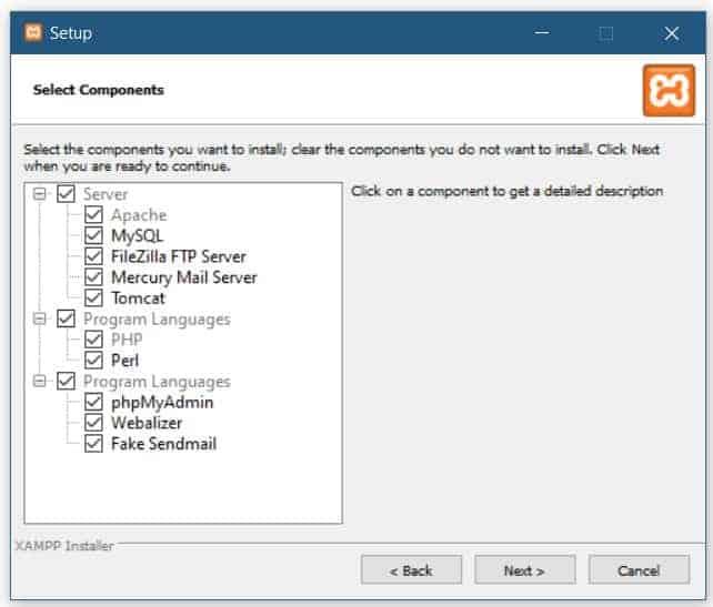 XAMPP default settings