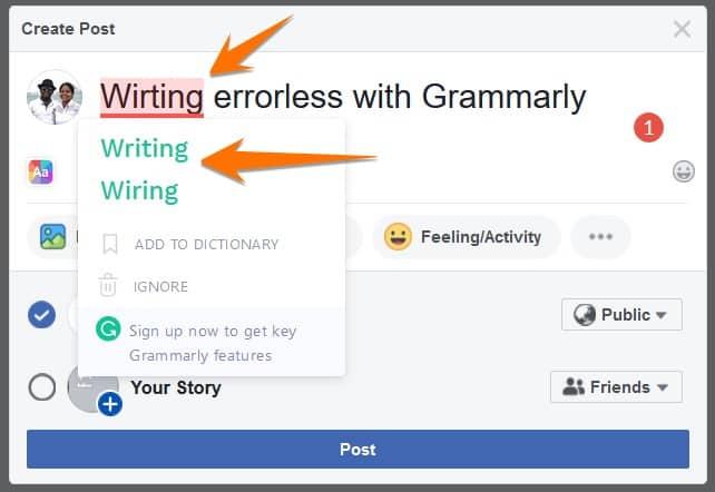 Facebook post correction with free Grammar checker app