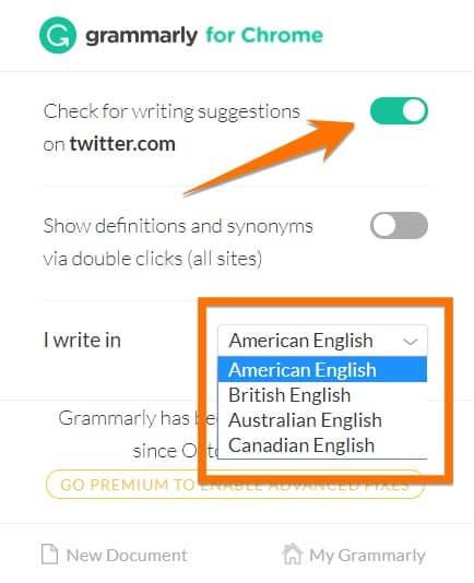 Customizing the way Grammarly work