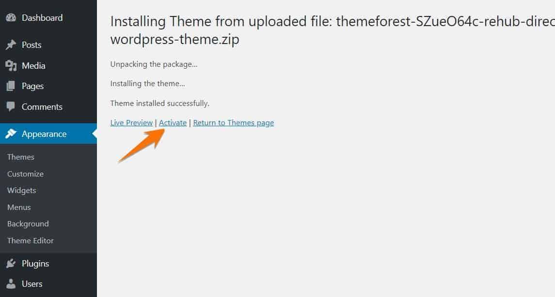 WordPress theme activation