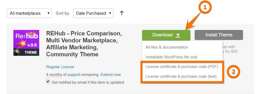 How to find your Themeforest License Key