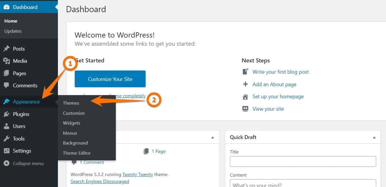 WordPress backend and theme Installation
