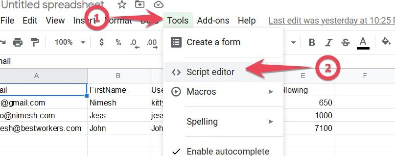 Adding JavaScript to Google sheets
