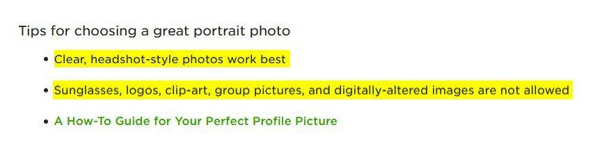 11. Profile Photo Upwork suggestions