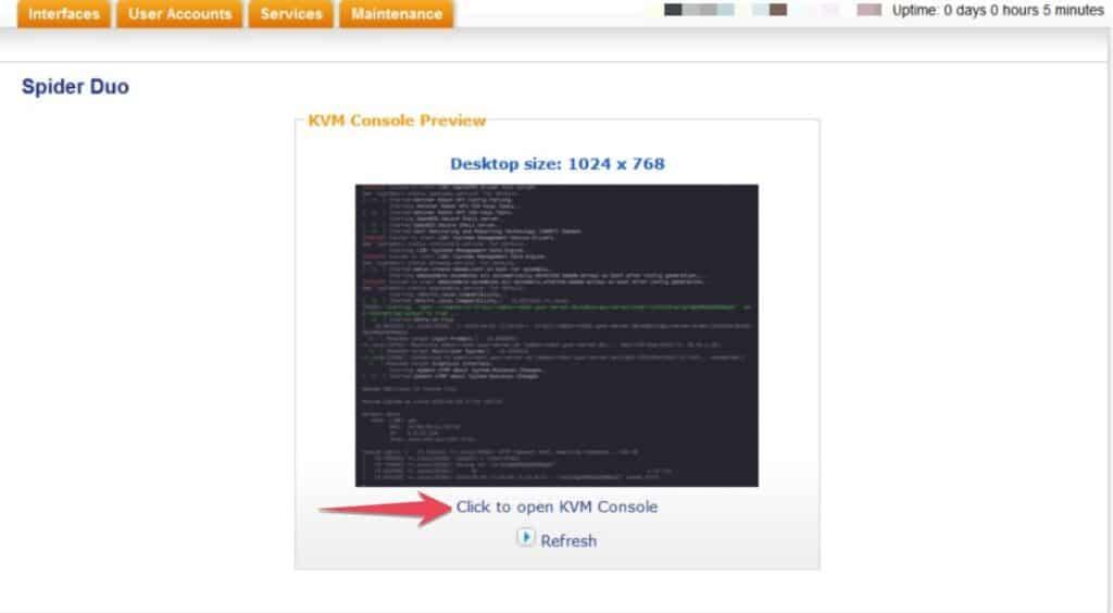 Open KVM Console